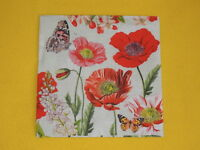 5 Servietten Klatschmohn Mohn Blumen Serviettentechnik Poppy Field Schmetterling