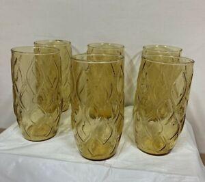 "Vintage Amber 5.5"" Tumblers Tea Water Glasses Set of 6 retro drinking glass MCM"