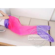 Christmas Soft Flannel Mermaid Tail Blanket Fish Bag Fleece Costume Kids Adult Rose With Purple 95*90cm(kid's)