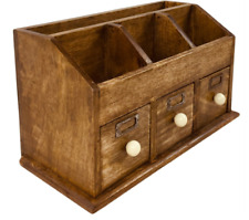 Wooden Rustic Desk Top Organiser Storage With Drawers Home Office