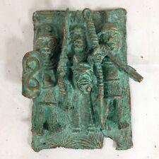 Benin Bronze Plaque Of 3 Warriors Nigeria African Tribal Art 19cm