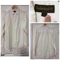 Timberland White Long Sleeve Shirt Mens Size Large L (C610)