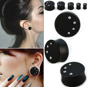 """Pair CZ Crystal Moon Solid Dark Areng Wood Double Flared Ear Plugs Jewels 0G-1"""""""