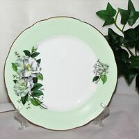 """ROYAL STAFFORD VINTAGE CAKE PLATE MINT GREEN BAND 6 7/8"""" ENGLAND WHITE FLOWERS"""