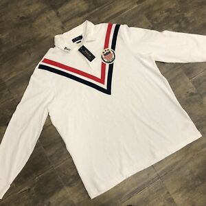 NWT Polo Ralph Lauren Rugby Shirt Classic Fit Long Sleeve White Men XL $168