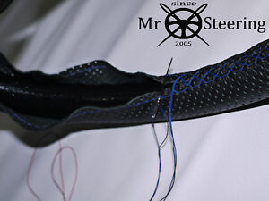 FOR MORGAN F 3 WHEELER LEATHER PERFORATED STEERING WHEEL COVER R BLUE DOUBLE STT