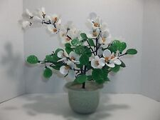 Vintage Chinese Peking Glass ORCHID Bonsai Tree Celadon Pot