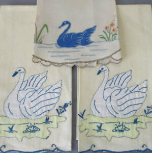 3 Vintage MADEIRA Linen Guest Towels Hand Embroidered + Appliqued SWANS * w Tags