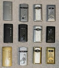 Lot of 12 Metal Decorative Refillable Turbo Electronic Lighters • NEW • 69-92
