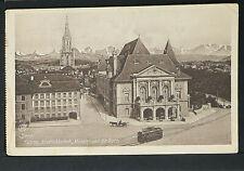 SWITZERLAND-SCHWEIZ 200-BERN -1916 Kasino, Stadrbibliothek, Münster und die Alpe
