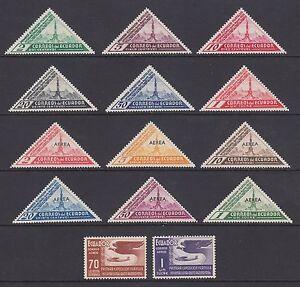 Ecuador Sc 352/C50 MNH. 1936 Quito Philex Triangulars, complete set inc Air Mail