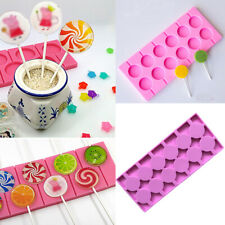 12 Lollipop Silicone Mould Tray Candy Chocolate Sticks Cake Biscuit Baking Tool