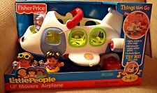 FISHER PRICE LITTLE PEOPLE LIL MOVERS AIRPLANE 3 FIGURES LITES & SOUND *NU*