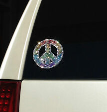 Peace Sign Rainbow Crystal Rhinestone Glitter Bling Car Laptop Decal Sticker
