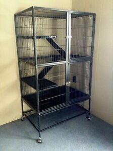 NEW/UNUSED Large Ferret/Small Animal Black Metal Cage AND Supplies Bundle