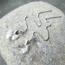 *SJ1* Sterling Silver Threader Earrings w/ Upick Swarovski Birthstone Heart