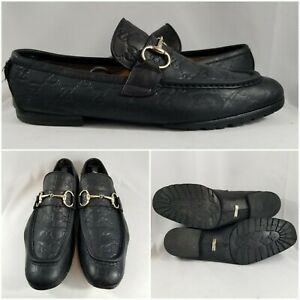 Gucci GG Guccissima Tom Ford Silver Horsebit Leather Loafer Shoes Men Size 9 US