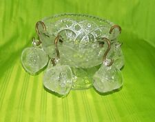 Vintage EAPG Clear Pressed Glass Child's Mini Pedestal Punch Bowl & 4 Cups