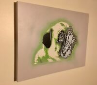 SAGE Original PUG Painting on WOOD Signed kaws obey banksy supreme