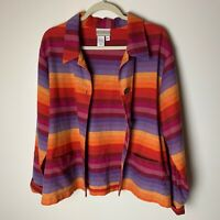 Coldwater Creek Women's Jacket Size Large Linen Cotton Button Up Stripes Casual