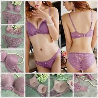 Sexy's Lace Lingerie Set Embroidery Deep V Padded Extreme Push Up Bra Panty Sets