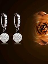 Ladies 925 silver ball Rhinestone earrings jewellery drop valentine present gift