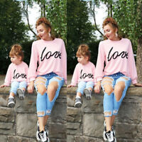 Family Matching Outfits Mother and Daughter LOVE Long Sleeve Cotton Top Clothes