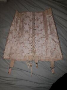 "Rare LADY RUTH Vintage Damask Girdle Sz M 27"" With BOX! Pin Up Burlesque Corset"