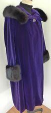 ✰BEST! VINTAGE BLACK FOX Purple VELVET OPERA COAT Cape FUR Hood ANTIQUE + DRESS