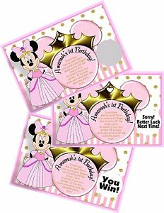 PRINCESS MINNIE MOUSE PINK SCRATCH OFF OFFS PARTY GAME CARDS BIRTHDAY FAVORS