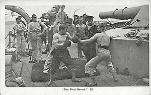 """POSTCARD SHIPS - NAVY LIFE - BOXING - """" THE FIRST ROUND """"  - CIRCA 1912"""