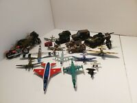LOT of Military Army Vehicles Trucks Jeeps Planes Motorcycle Toy Diecast plastic