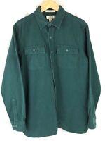 L.L. Bean Chamois Cloth Flannel Green Shirt Traditional Fit Mens L Large LL Bean