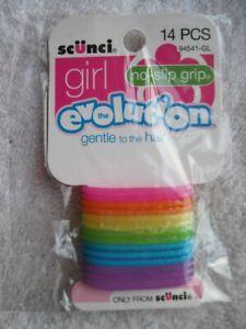 14 Scunci Girl No Slip Grip Slide Proof Hold Stay Elastics Ponytailer Hair Bands