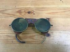 Vintage OEM  Round Sunglasses Glass Goggles Shades Leather Guards Steampunk USA