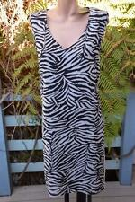 BeMe OCCASIONS B&W ANIMAL Print TUNIC DRESS Size 16 NEW rrp $99.99 Fully Lined