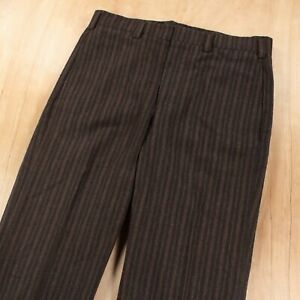 vtg 60 70s mens flat front striped wool flannel pants 34x29 usa dove zipper
