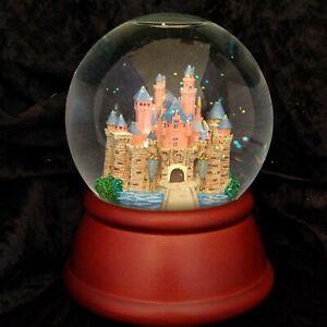 RARE Disney Parks DISNEYLAND SLEEPING BEAUTY CASTLE Musical Snow Globe Wood Base