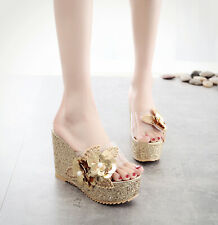 Women's Shiny Sequins Platform Slippers Clear Flower Sandals Mules Slip on Shoes