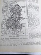 1923: Map of County Dublin 97 Year Old Print  Vintage Old Bridge Near Lucan
