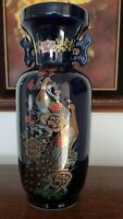 Japanese Cobalt blue Vase With Peacock Design