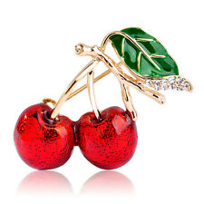 1950s Rockabilly Retro Enamel CHERRY Brooch ~ 50s Pinup Glamour Gold Crystal