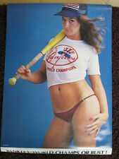 ORIGINAL! 70s vtg NEW YORK YANKEES world series PIN UP GIRL baseball POSTER 1978
