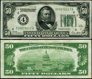 FR. 2100 D $50 1928 Federal Reserve Note Cleveland D-A Block XF