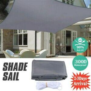 3x 4m Sonnensegel Rechteck 98% UV-Sonnen-Schutz Terrasse Balkon Tarp Wasserdicht