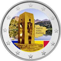 2 Euro Gedenkmünze Andorra 2018 coloriert / mit Farbe - Farbmünze Verfassung