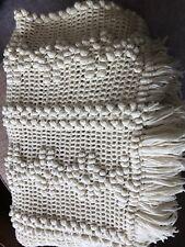 "Ivory Hand Crocheted Popcorn Stitch Afghan 78x57"" Including Fringe Nice"