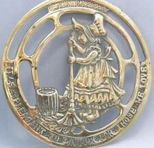 Vtg brass wall plaque cleaner/ maid/ Mum/ It's Pleasant To Labour For Those Love
