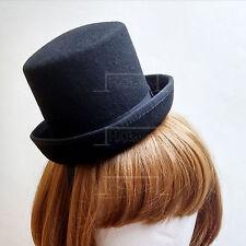 VINTAGE Wool Felt Mini Topper Top Hat Women Fascinators Party NEW | 15cm | Black