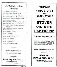 Stover Ct-2 gas engine instruction book manual hit miss Wico Ek motor parts list